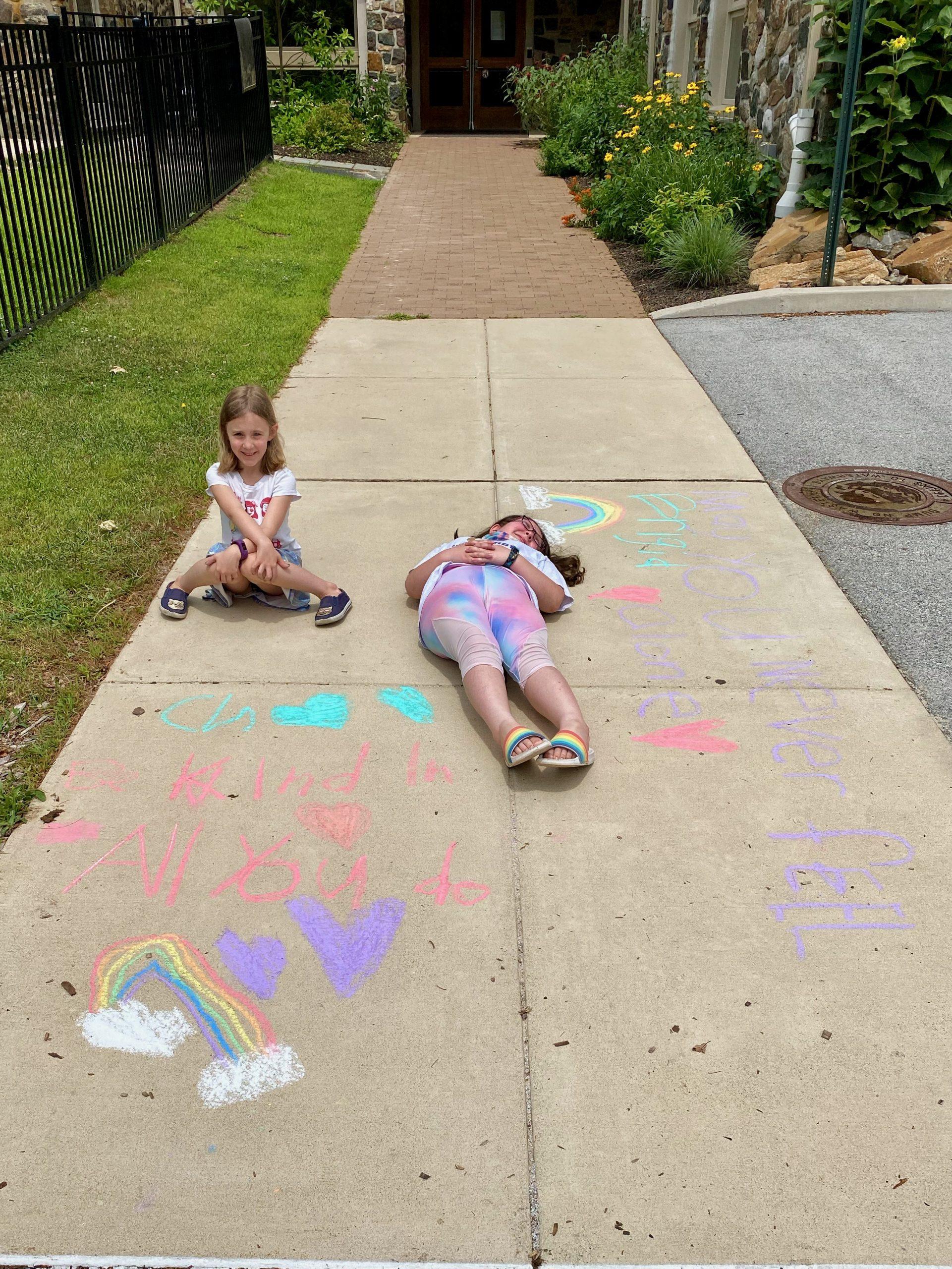 Children with their art