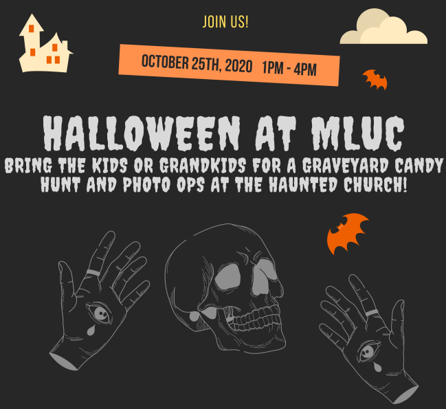 You're invited to MLUCs Halloween Event for families, Food Drive and Remembrance Candle Lighting